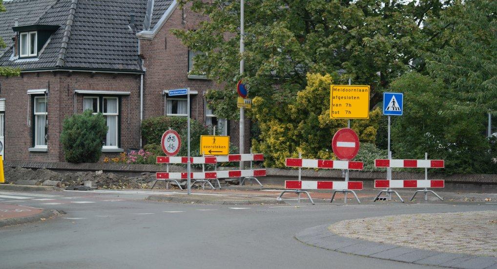 Meidoornlaan thv Wilgenhof afgesloten.