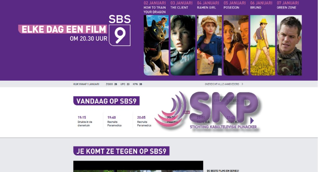 SBS9 via SKP nu in het centrum.