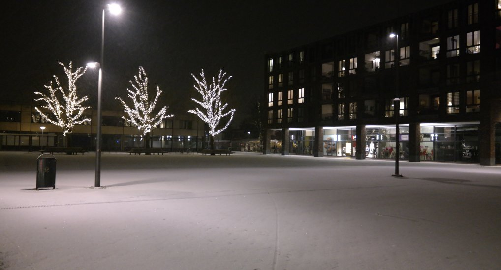 Wintersweer in het centrum.