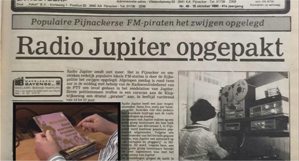 Nostalgie: Radio Jupiter opgepakt.