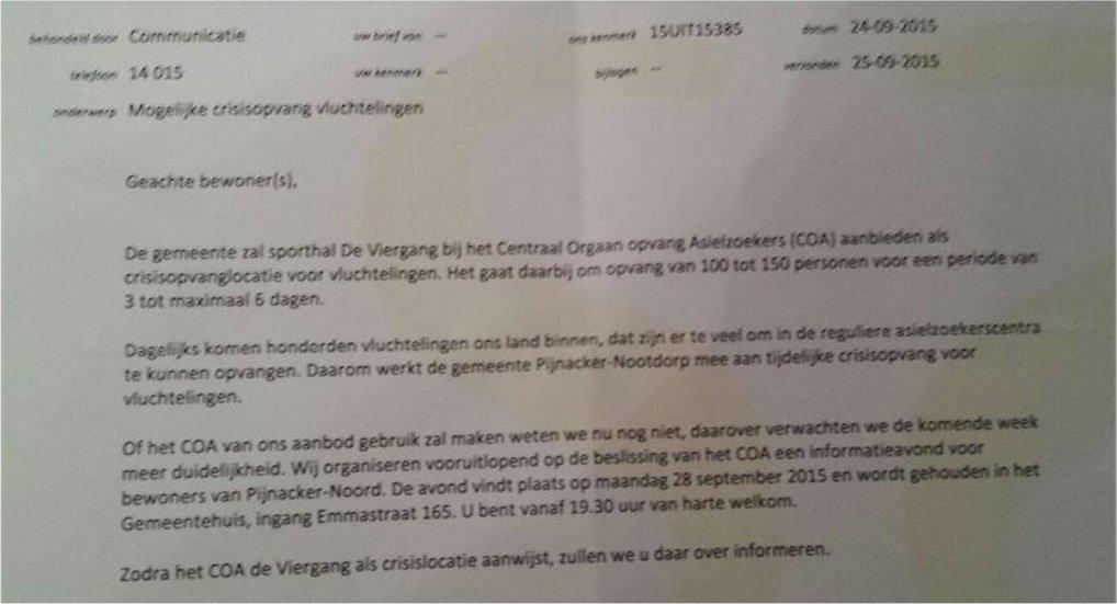 Gedeelte Pijnacker-Noord krijgt brief.